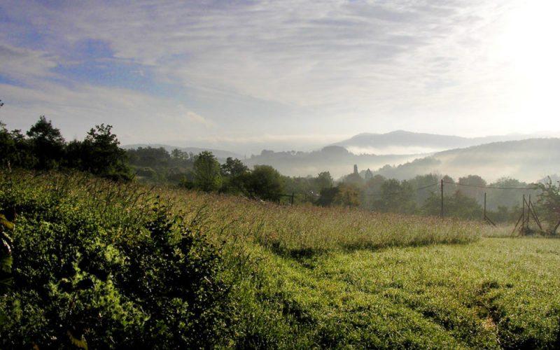 Uitzicht op Belloc (in de ochtend)